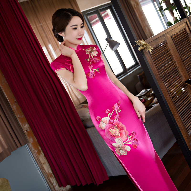 chinese cheongsam dress red modern high quality qipao dress for women plus size in black red