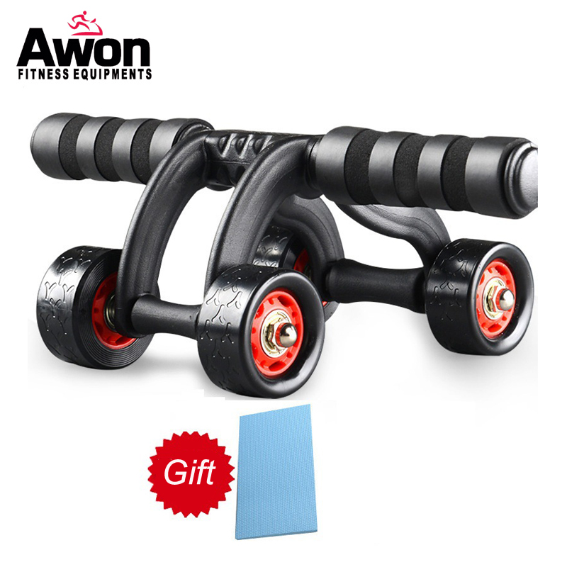 4 Wheels Power Wheel Triple AB Abdominal Roller Abs Workout Fitness Machine Gym Knee Pad ...