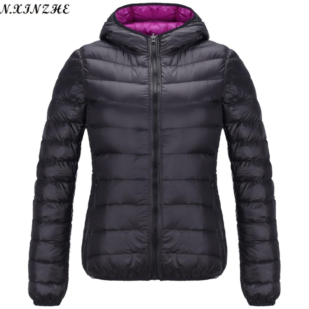 LZMZA Reversible hooded Coat Female 2017 Spring   Jackets   Women Ultra Light Down Cotton Parka Casual   Basic     Jacket   Plus Size 4XL