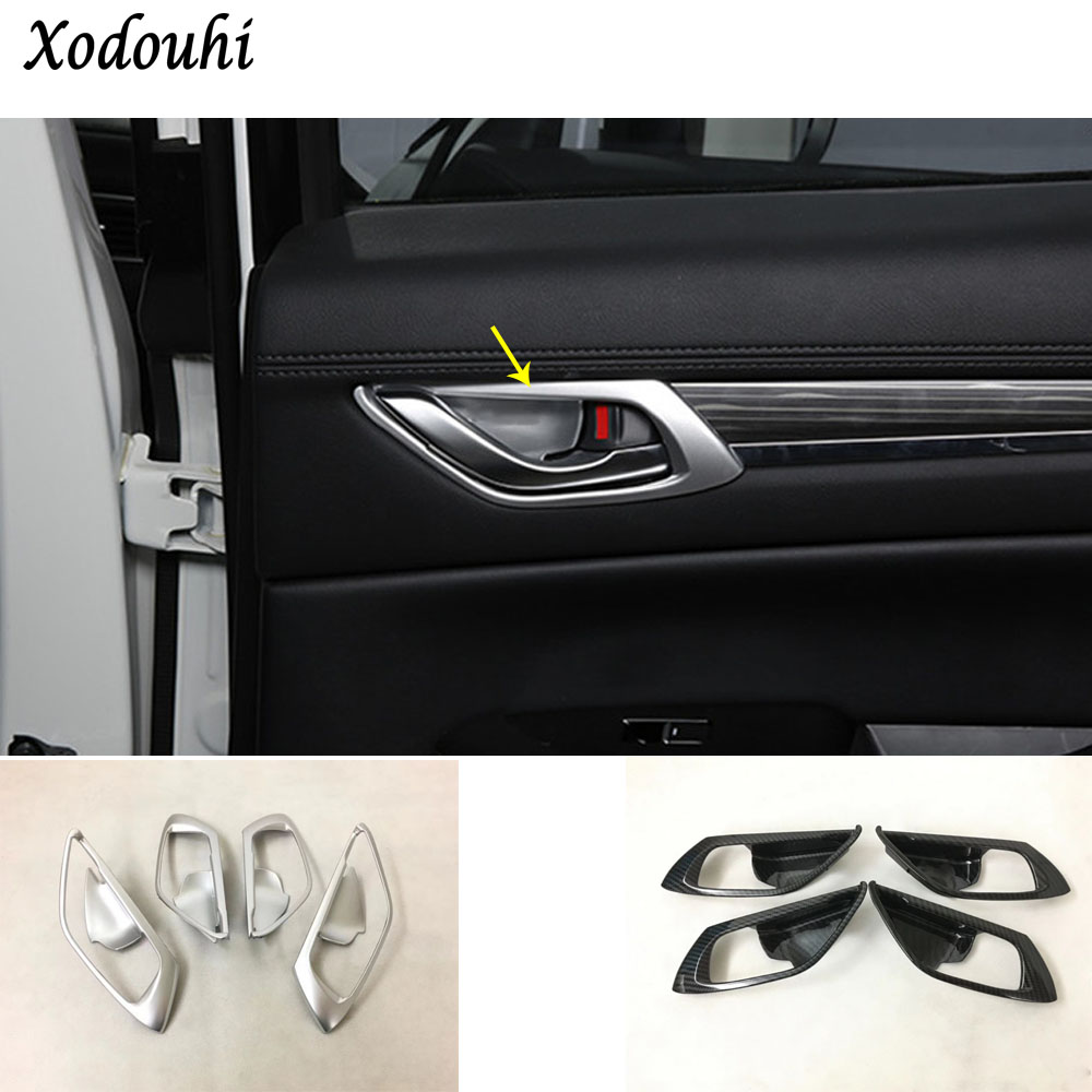 High quality car body styling cover stick trim door inner handle bowl frame lamp 4pcs For Mazda CX-5 CX5 2nd Gen 2017 2018 for mazda cx 5 cx5 2017 2018 kf 2nd gen car co pilot copilot stroage glove box handle frame cover stickers car styling
