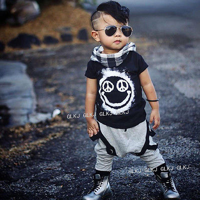 New 2pcs Toddler Kids Baby Boy T Shirt Tops Long Pants Trousers