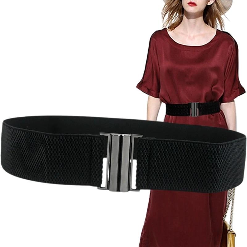Women Girls Wide Elastic Waist Belt Wrap Stretch Buckle Cinch Corset Waistband