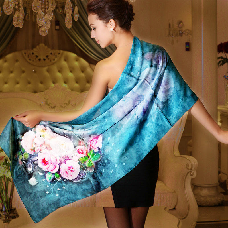 [BYSIFA] Ink Blue Women Scarf Shawl Autumn Winter Warm Pure Silk Scarf 178*52cm 100% Pure Silk Long Scarf Chinese Roses Scarves ...