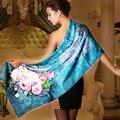 2015 Acessórios de Moda Cachecol Xale Primavera E No Outono Lenço De Seda Pura 178*52 cm Azul Lenço de Seda Amoreira Feminino longo Lenço De Seda