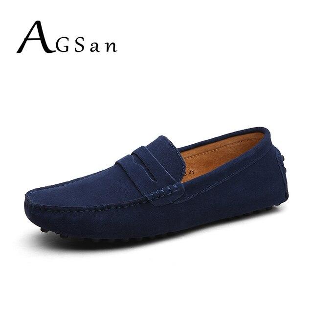 AGSan פרה זמש עור ופרס גברים Slipon מוקסינים נהיגה נעליים בתוספת גודל 38-49 איטלקי Mocassin Homme קלאסי אגורה נעליים