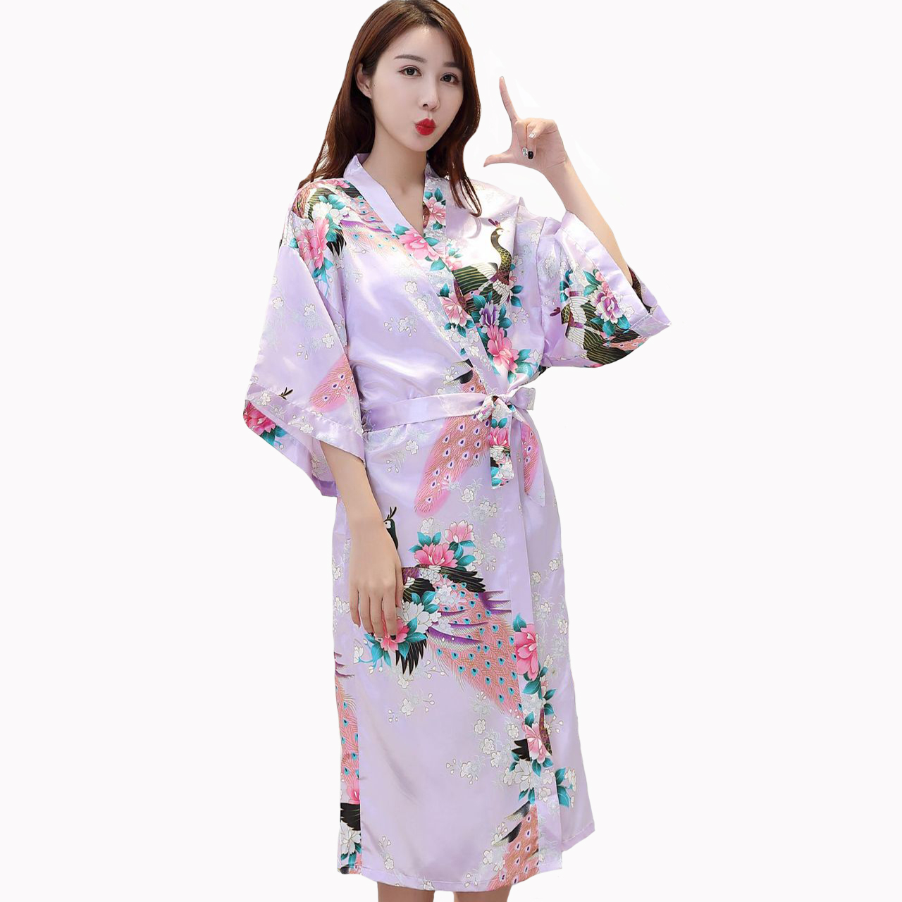 Chinese Silk Women/'s Long Kimono Peacock Robe Gown bathrobe Sleepwear Plus size