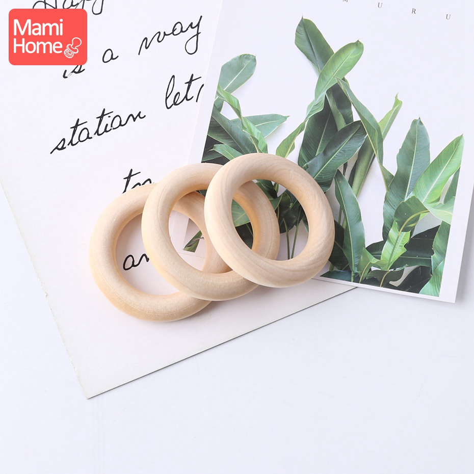 Mamihome 10/5/3pc Maple Wooden Ring Wood Teething Children Goods DIY For Nursing Necklace Rattles Wooden Blank Rodent Bpa Free