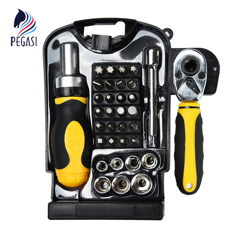 PEGASI 34PCS Torque Wrench Socket Ratchet Screwdriver Bit Set Extension Combination Kit Household Repair Tool