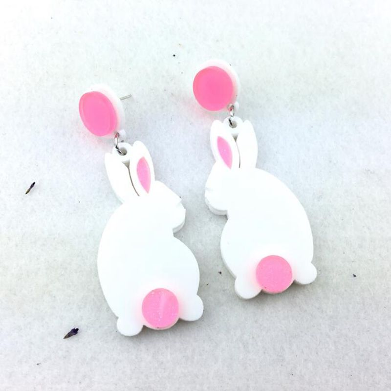 Fashion Trendy Jewelry Acrylic Animal Rabbit Stud Earrings For Women in Stud Earrings from Jewelry Accessories