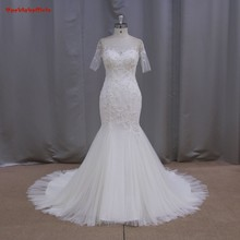 New Arrival 2016 Elegant Mermaid Sweetheart-Neckline Beading Appliques Bridal Gown Cap Sleeve YIYI Wedding Dress WD0378
