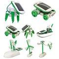 2015 Новый 3D DIY Солнечной энергии 6 в 1Toy Комплект DIY Образования Робот Автомобилей Лодка Собака Fan Plane Щенок дети подарок
