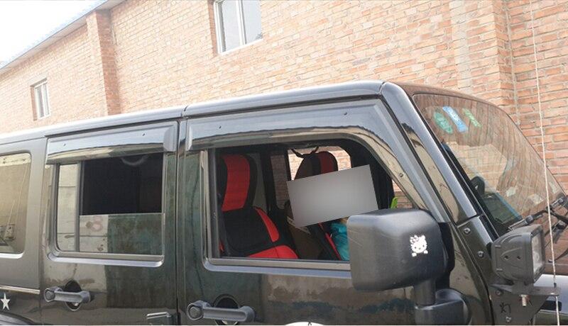 For Jeep Wrangler 4 door 07 08 09 10 11 12 13 14 15 Window Visor Vent Shade Rain/Sun/Wind Guard  For Jeep Wrangler 4 door 07 08 09 10 11 12 13 14 15 Window Visor Vent Shade Rain/Sun/Wind Guard