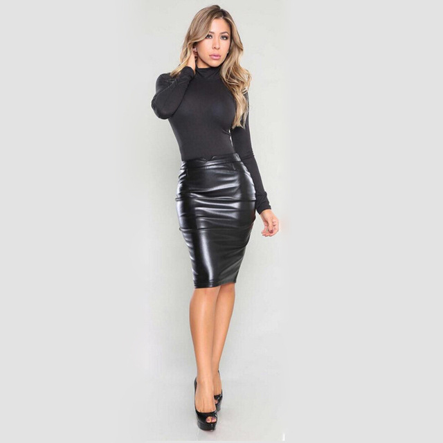 d27aadcec8 QA822 Hot selling sexy bodycon solid brushed comfortable PU leather skirt  women high waist wrap pencil skirt