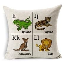 Hot Sale Pillow Covers Bay Kids Children Learning Pattern Hot Fashion 45X45CM Linen Pillow CoverHome Decorative Linen Cushion