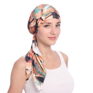 Image 1 - Мусульманские женщины хлопок Мягкий тюрбан с принтом шляпа раковая шапочка при химиотерапии капот шапки предварительно связанный шарф головной убор аксессуары для волос