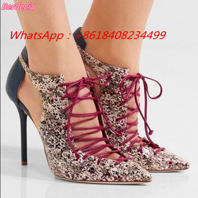 Lace-Up Cross-tied Women Pumps Pointed Toe Sexy High Heels Women Sandals Mixed Colors Hollowed Out Thin Heels Women Casual Shoes