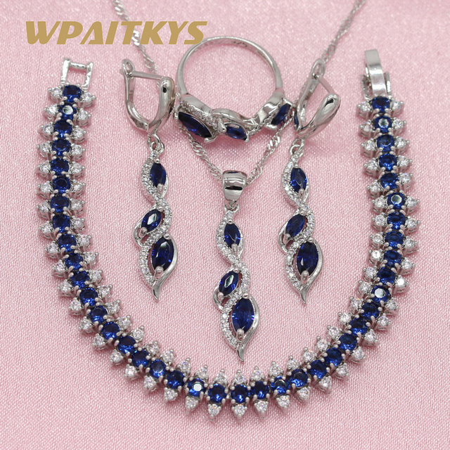925 Silver Jewelry Sets For Women Wedding Royal Blue Cubic Zirconia Earring Pend