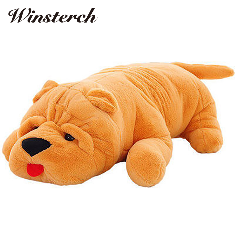 2018 Bulldog Shar Pei Dogs Pillow Plush Toy Lies Prone Dog Cushion Kids Toys Stuffed Animal Doll Birthday Gift Pet Dolls WW370