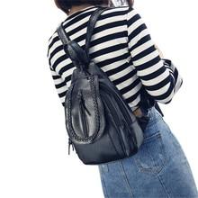 Top Popular Women Printed Tassel Shoulder Bag Purse Leather Messenger mochila Multi-function Backpack Bag 2017 New Arrival