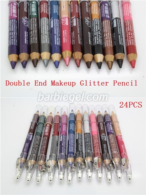 New  Double End  24pcs Waterproof Lasting Effect 3 in 1 Makeup Pen Beauty Glitter Eyeliner Eye Lip Liner Eyebrow Pencil