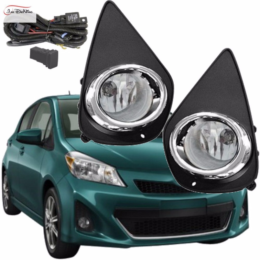 JanDeNing Car Fog Lights for Toyota Yaris 2014 ~On (U.S TYPE) Clear Halogen bulb:H11-12V 55W Front Fog Lights Bumper Lamps Kit fog light set 12v 55w car fog lights lamp for toyota hiace 2014 on clear lens wiring kit free shipping