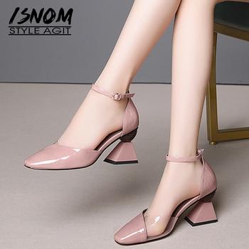 ISNOM Cow Leather Summer Sandals Women Strange Style Sandals Woman 2019 High Heels Shoes Female Wedding Transparent Pvc Shoes