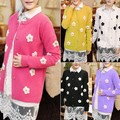 Womens Cardigan Daisy Flower Print Sweater long sleeve Coat Crochet Knit Top Free shipping 31
