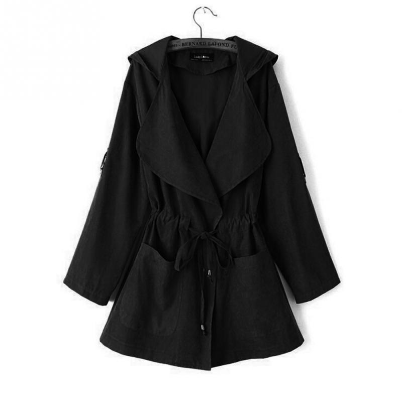 HTB1E1JnuqQoBKNjSZJnq6yw9VXaM Autumn Women's Casual Hooded Windbreaker Coat Turndown Collar Overcoat Outerwear Coat Solid Color Trench Belt Slim Tops Coat