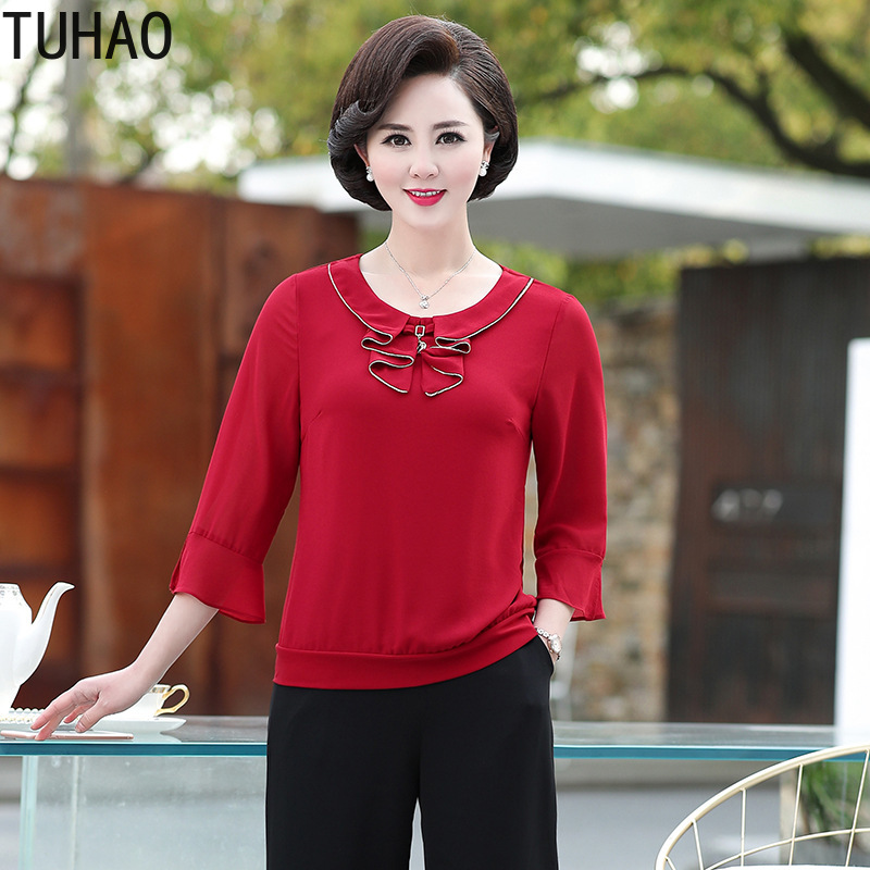 TUHAO 2019 Plus Size 5XL 4XL 3XL Chiffon   BLOUSE   Mother Summer   Blouses   Middle-aged Female   Shirt   Women   Blouses     Shirts   Top LZ93