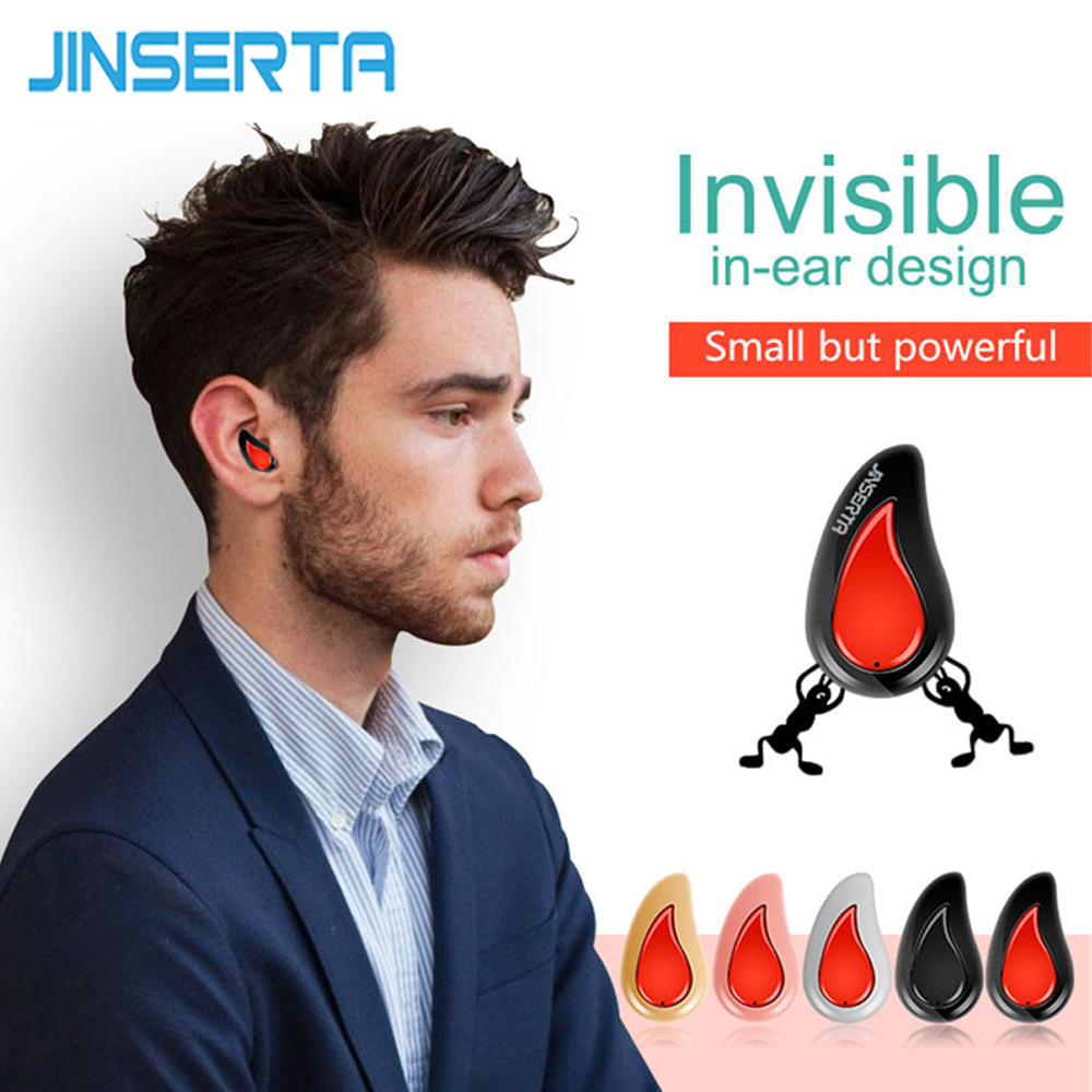 JINSERTA Mini Wireless Bluetooth Earphone Invisible In Ear Bluetooth 4.1 Earbud Noise Canceling with Mic GPS Music-Apico wireless bluetooth earphone car charger original business dual usb dock headset with mic noise canceling phone charger 2 in 1