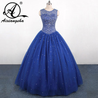 2018 Luxury Blue Sweet 15 dress Quinceanera Dresses with Crystal beads Vestidos de 15 anos Ball Gown dressQA109