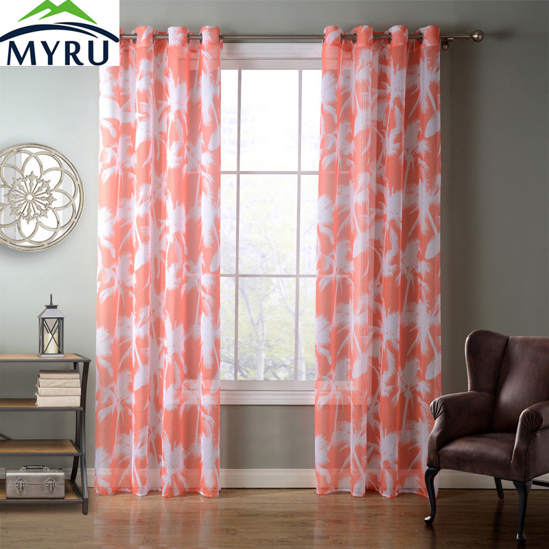 MYRU Orange/ Black Coconut Trees Pattern Window Screen Pop Style Doris Fabric Sheer Curtain Tulle Curtain 2 Colors 4 Sizes