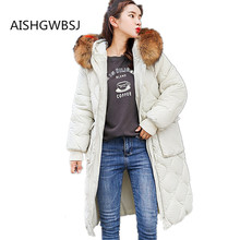2019 New Womens Winter Cotton Jacket Super Large Fur Collar Loose Fashion Long Coat Size Hooded Warm Outer Tq025