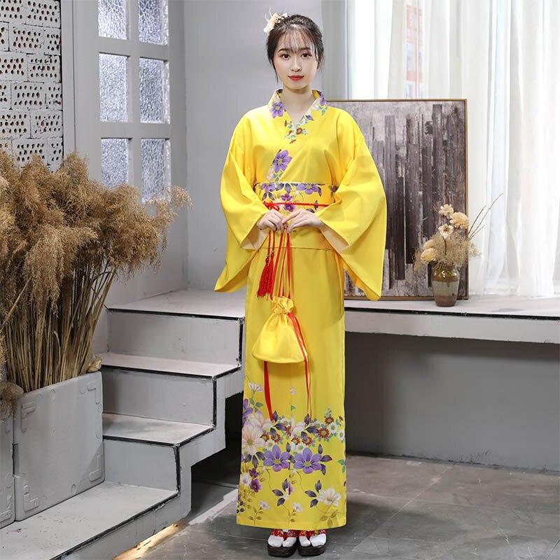 New Japanese Traditional Kimono Women Yellow Long Yukata Female Cosplay Stage Performance Costume Folk Dance Clothes DQL1413