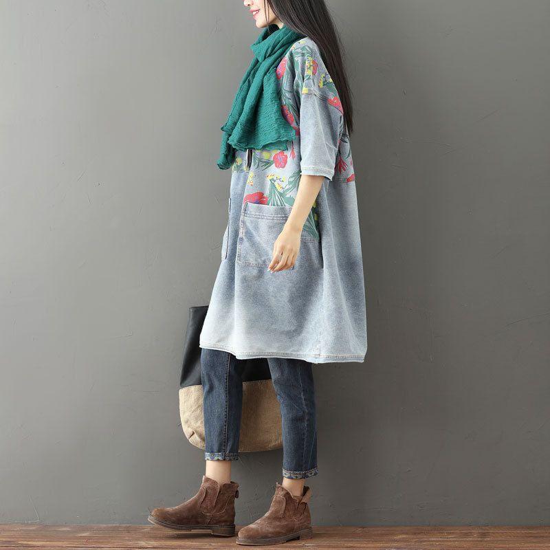 Mori Moitié Surdimensionné Manches Imprimé Lâche Fille Robe Vintage Blanchis 2018 01 Cowboy G101202 Jeans Denim Tricoté Féminine xwq8Y08CI