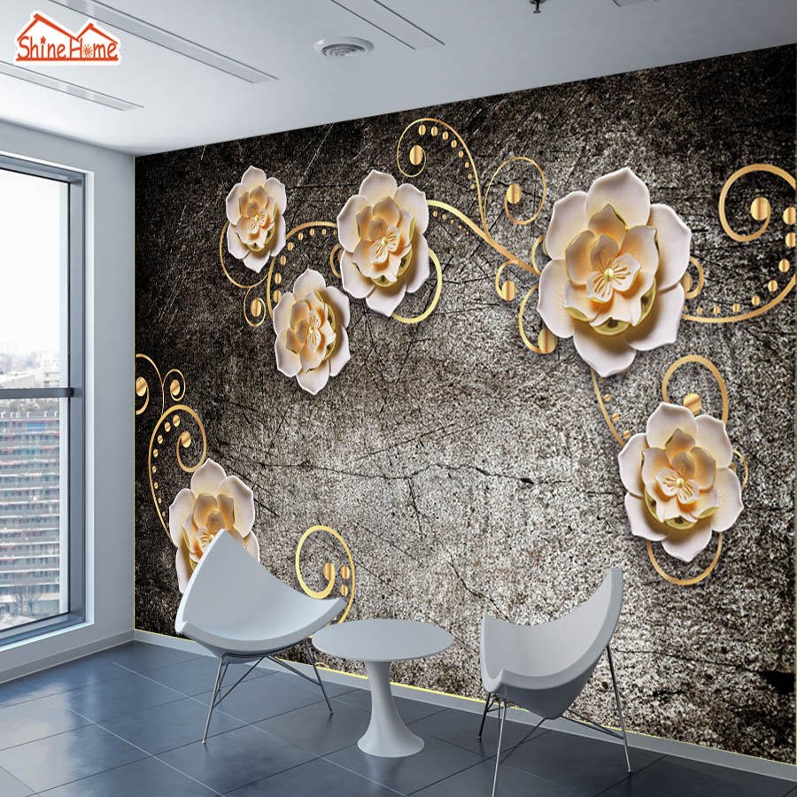 ShineHome-Custom Photo Wallpapers Walls 3d Living Room Embossed Lotus Flower Wall Children Bedroom House Mural Wall Paper Decor shinehome cute circle bubble 3d photo wallpaper for walls 3 d living room wallpapers kids room mural roll wall paper background