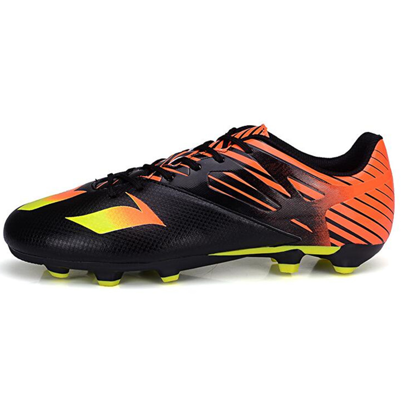 MAULTBY Children Boy Black Orange PU Football Boots AG Soccer Cleats Soccer Shoes For Kids #AG31532B