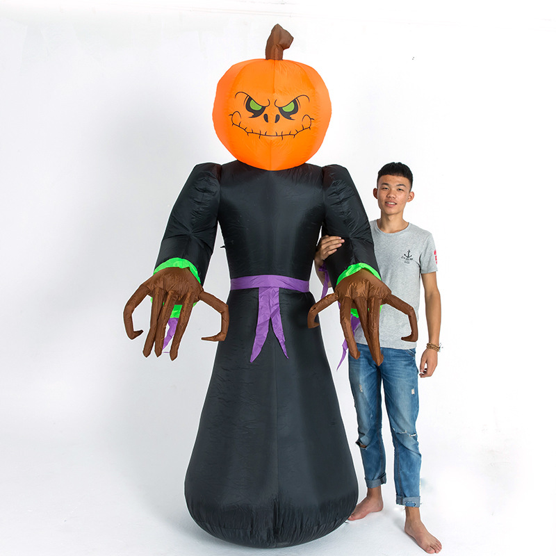 220cm Giant LED Ghost with Pumpkins Head Halloween Inflatable Luminescent Toys Indoor Outdoor Party Terror Props Home Yard Deco happy halloween soft pumpkins ghost printed pillow case