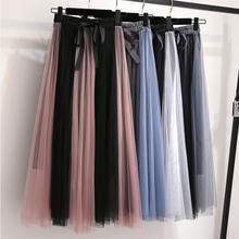 Shintimes Jupe Femme 2019 Summer Autumn New Fashion Patchwork Mesh Pleated Skirts Womens High Waist A-line Bow Tulle Skirt