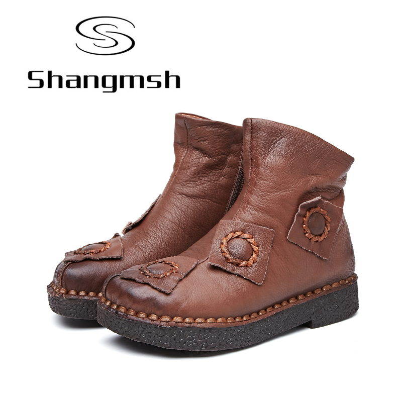 Shangmsh Handmade Women Shoes Flat Ankle Boots For Women 2017 Genuine Leather Female Boots Zip Round Toe Casual Boots Plus size front lace up casual ankle boots autumn vintage brown new booties flat genuine leather suede shoes round toe fall female fashion