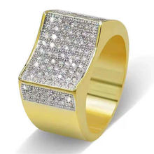 ZORCVENS New Fashion Big Male Hip Hop Ring With Zircon Stone 18KT Yellow Gold Filled Large Wedding Rings For Men(China)