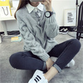 De DoveKorean version of the new winter sweater solid body angle eight sets of women's hot retro College wind pullover
