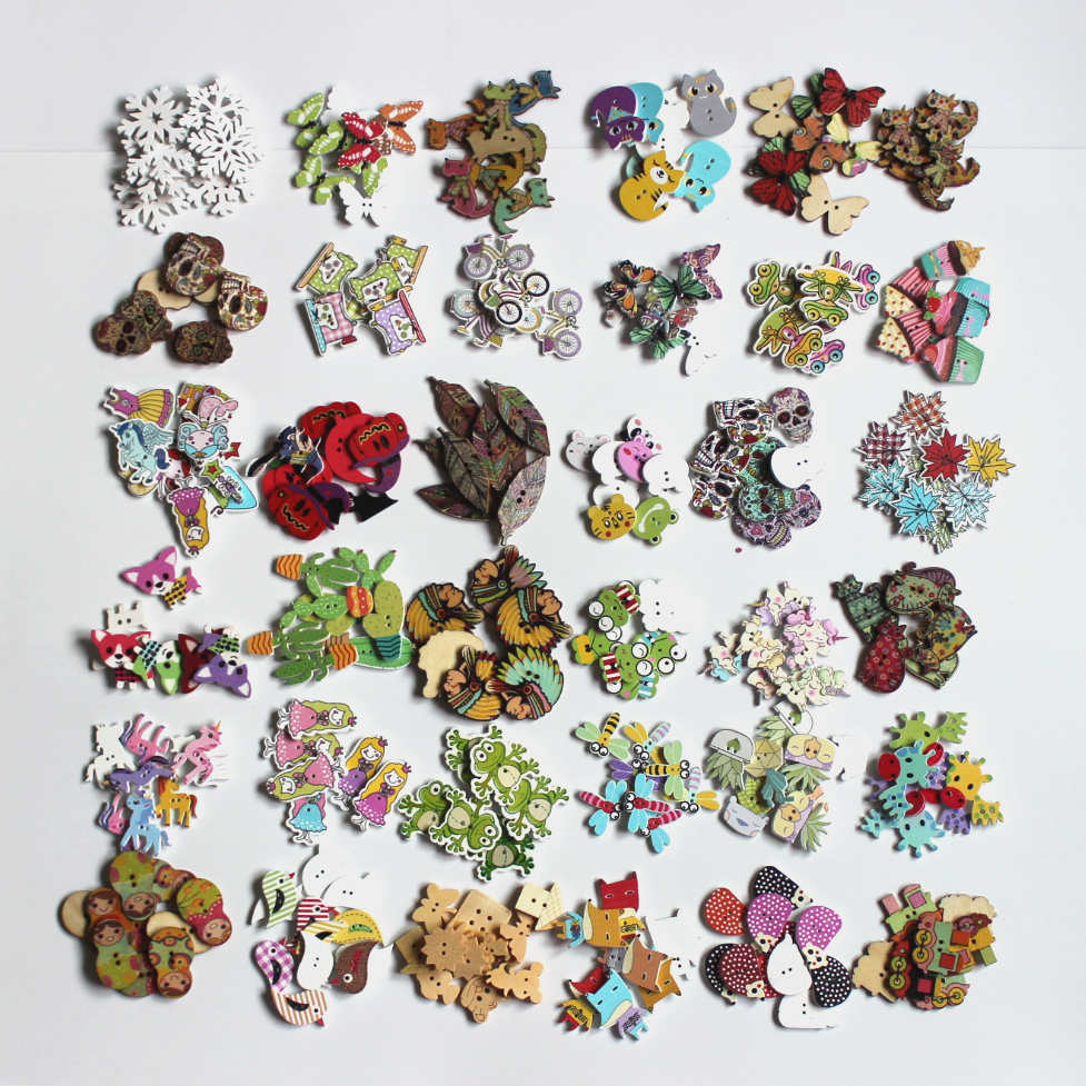 30 50pcs lot Colorful mix 2Hole Wooden Buttons Baby Children Clothing Sewing Accessories DIY Crafts Buttons For Scrapbooking L 4 in Buttons from Home Garden