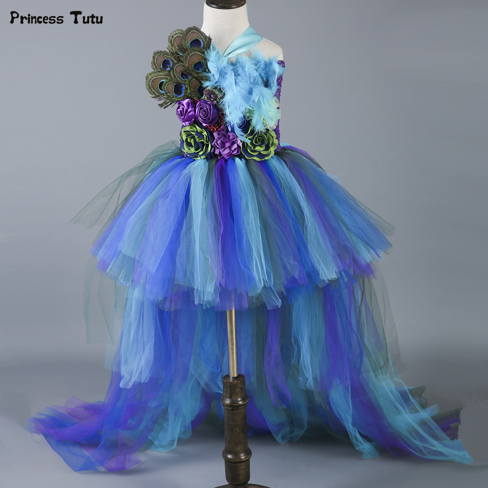 New Baby Girls Trailing Peacock Tutu Dress Tulle Feathers Flowers Girl Dresses Kids Girls Party Wedding