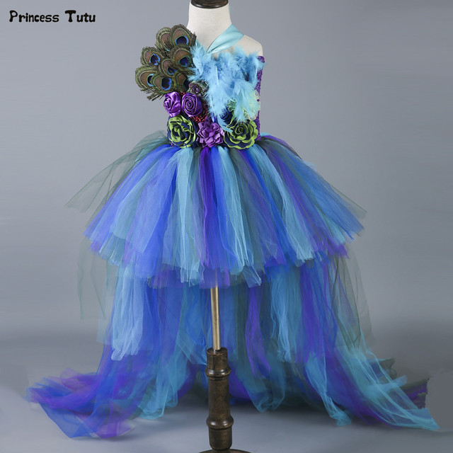 44d237157 New Baby Girls Trailing Peacock Tutu Dress Tulle Feathers Flowers Girl  Dresses Kids Girls Party Wedding Birthday Pageant Dresses