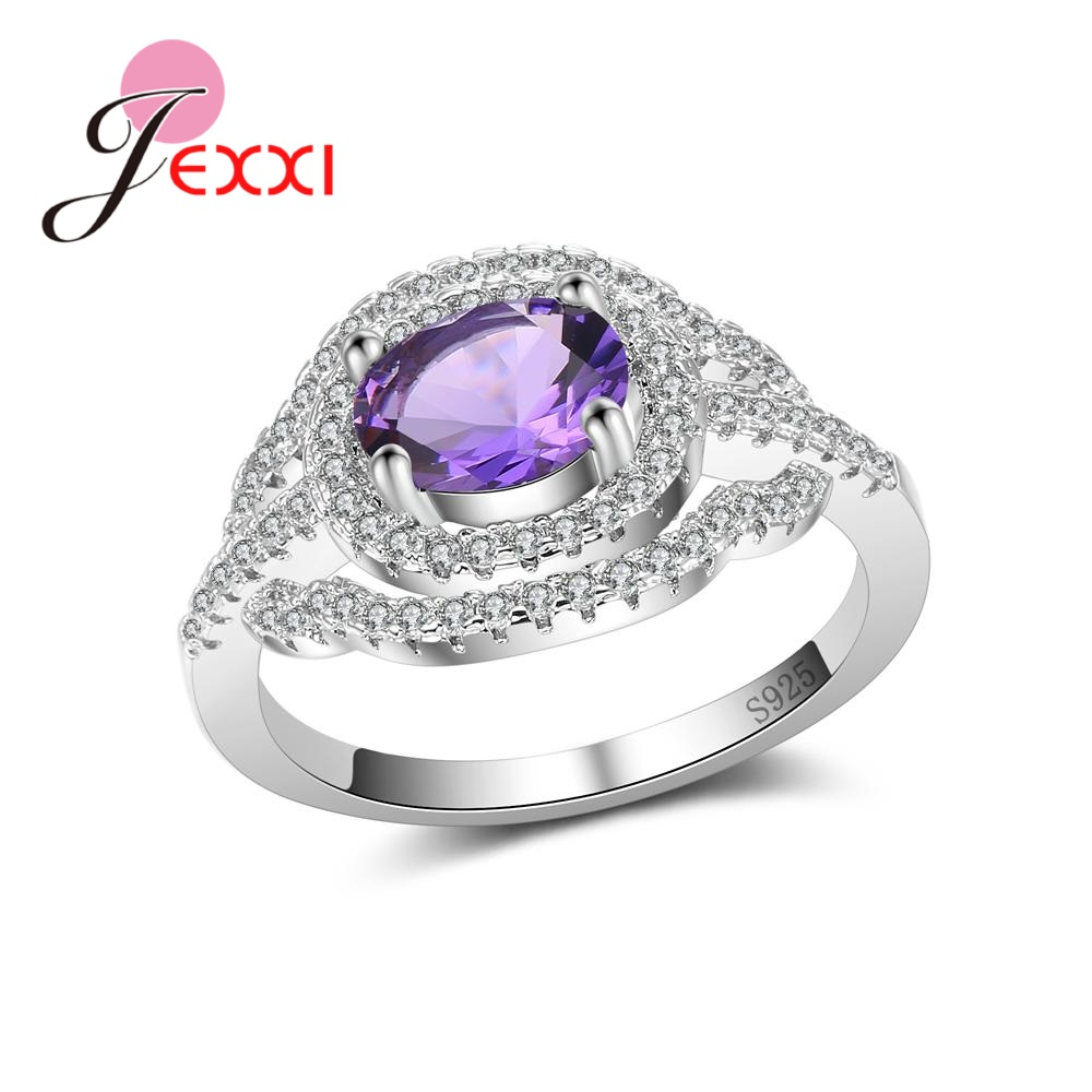 JEXXI Luxurious Women Bridal Wedding Rings Design Filled High Quality Crystals 925 Sterling Silver Top-Grade Pretty Promise Ring
