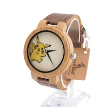 BOBO BIRD E08 Mens Bamboo Wooden Quartz Watches UV Tech Pikachu Dial Casual Sport Dress Watches with Leather Band in Gift Box
