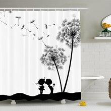 Cortina de ducha para el hogar, clásico, Vintage, diente de león, flores, lindos amantes, tela estampada, decoración para el baño con ganchos, blanco y negro