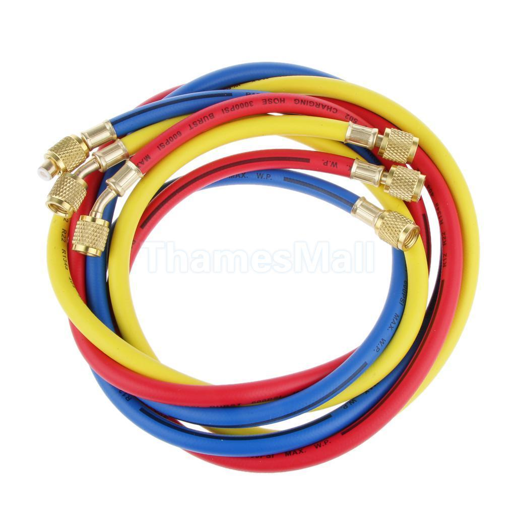 1Pc R134a R22 R410a Refrigeration Charging Hoses 1/4 SAE Female Manifold Gauge Set For Air Conditioner Red/Blue/Yellow 5 pcs qdzh35g r134a 12v cooling compressor for marine refrigeration unit