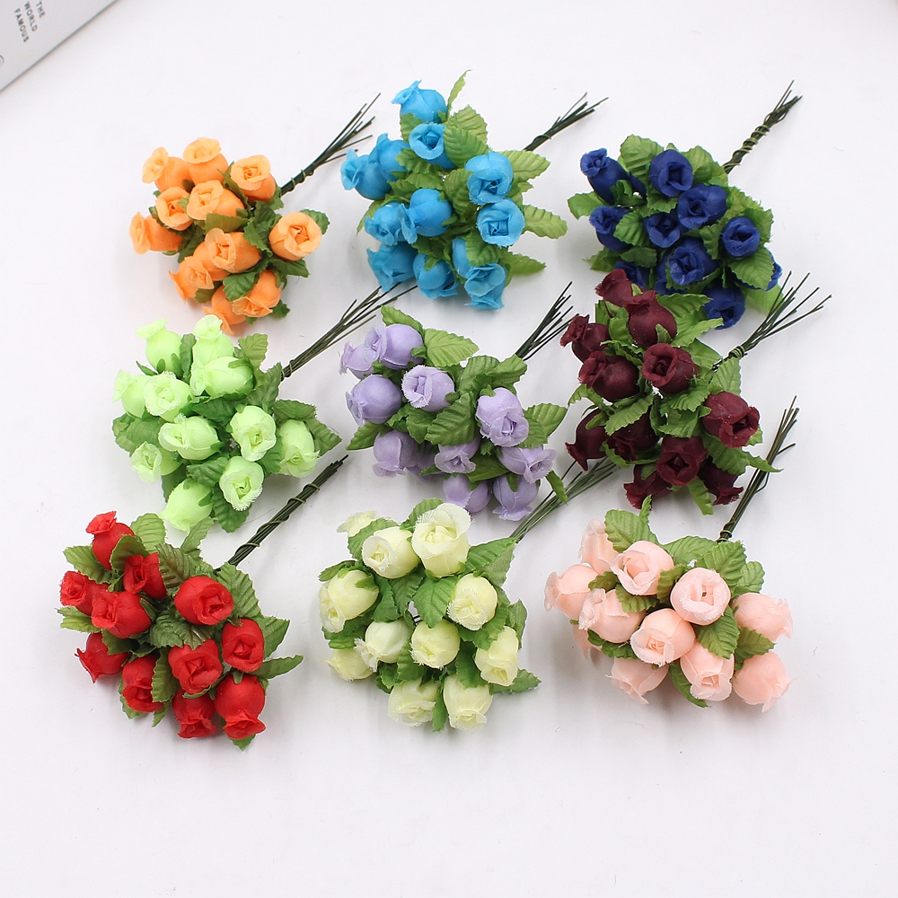 12pcs 2cm Handmade Mini Silk Rose Bouquet Artificial Flower Wedding